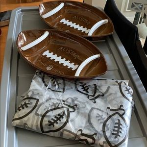 2 Football Chip Bowls & Large Plastic Table Cover
